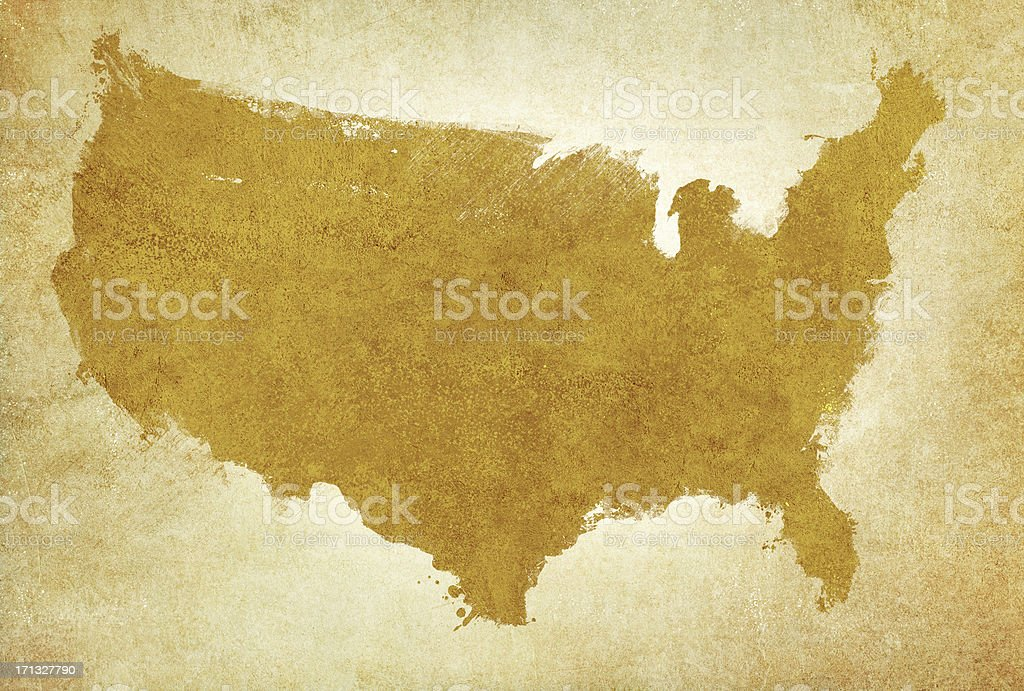 USA map on aged parchment royalty-free stock photo