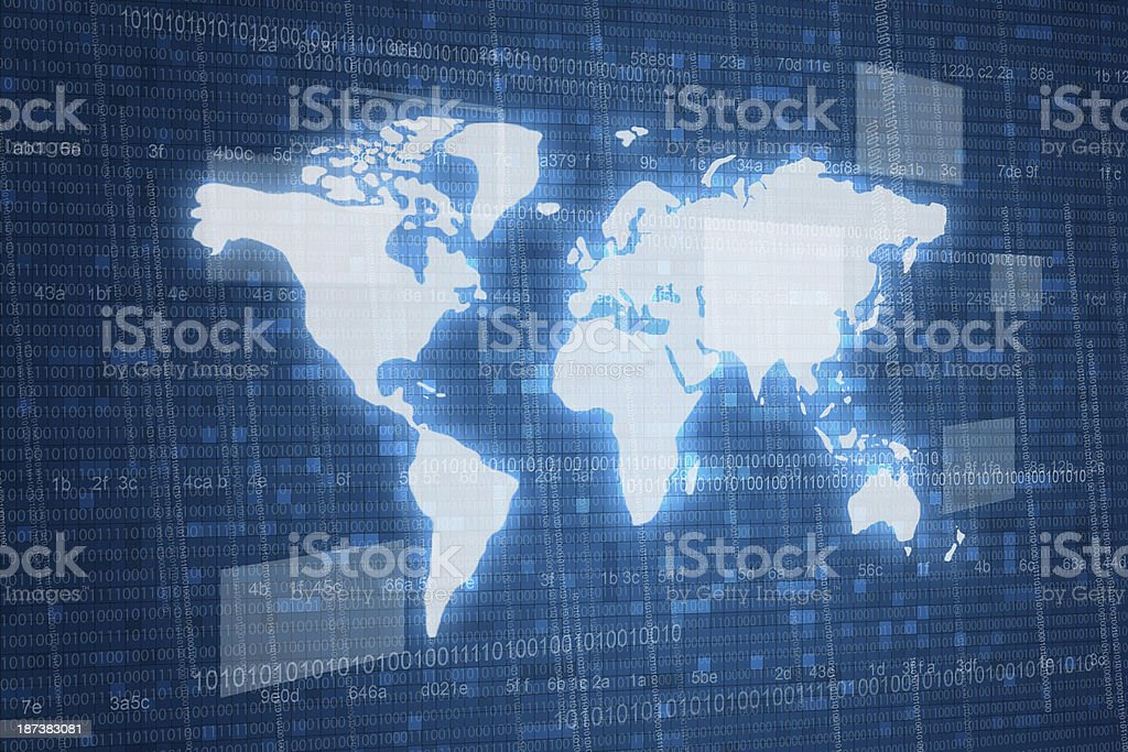 Map on digital background stock photo