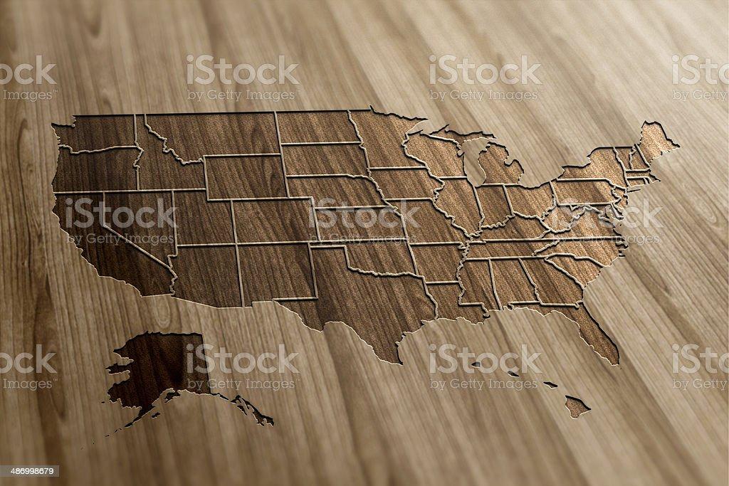 USA Map on Wood stock photo