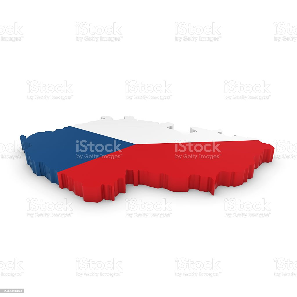3D Map Outline of the Czech Republic with Czech Flag stock photo