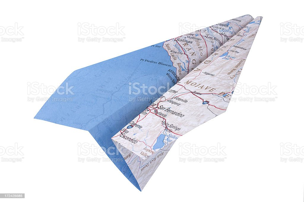 Map Paper Airplane royalty-free stock photo