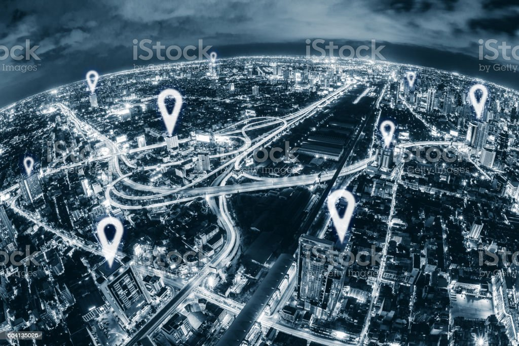 Map pin flat above blue tone city scape and network connection concept stock photo