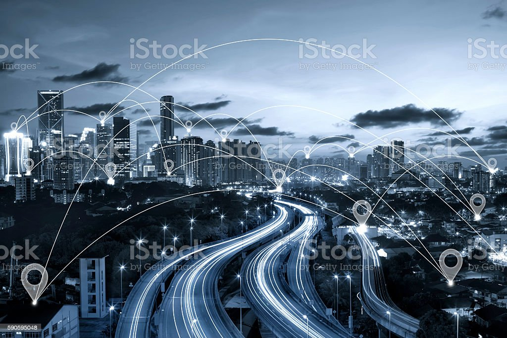 Map pin flat above blue tone city scape stock photo