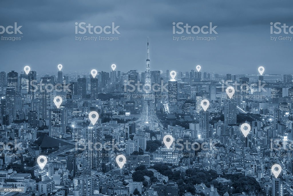 Map pin flat above Tokyo city scape and network connection stock photo