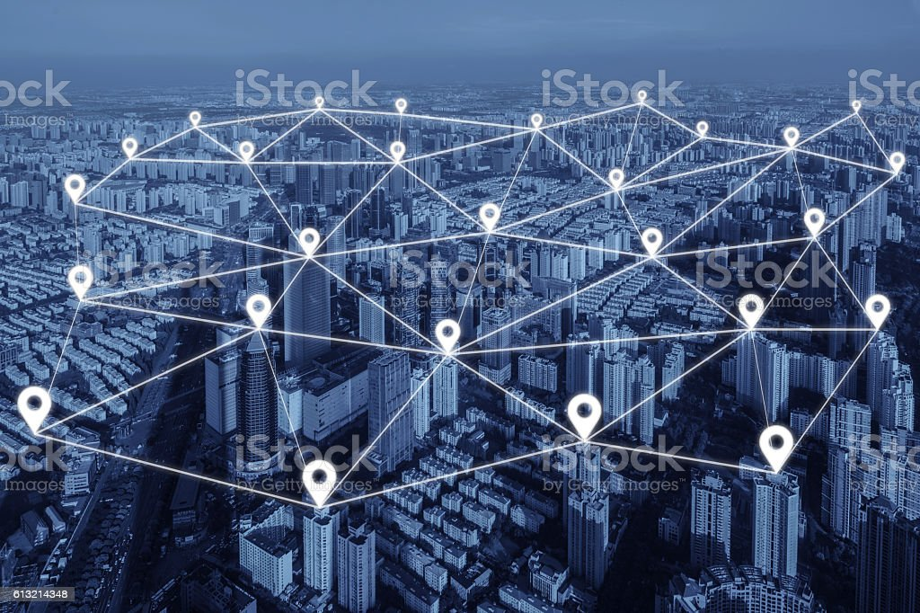 Map pin flat of network connection in city. Network connection stock photo