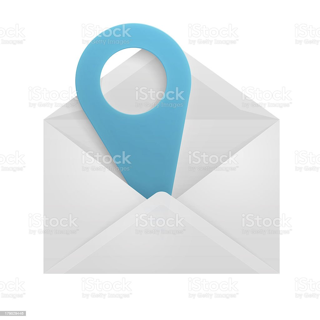Map pin in an envelope. royalty-free stock photo