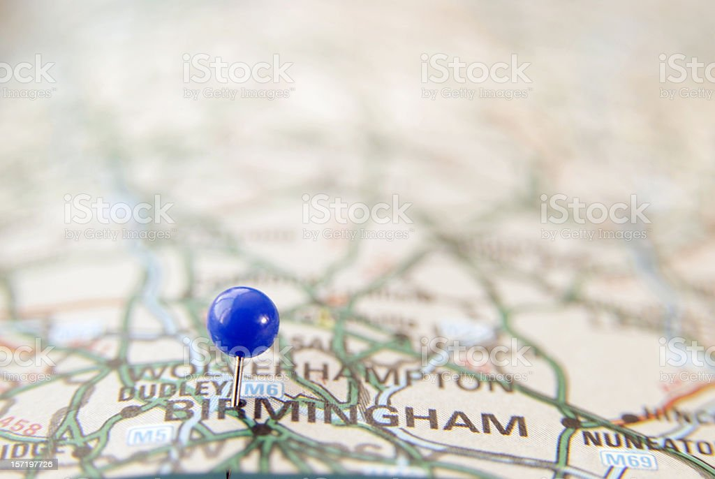 Map pin in Birmingham royalty-free stock photo