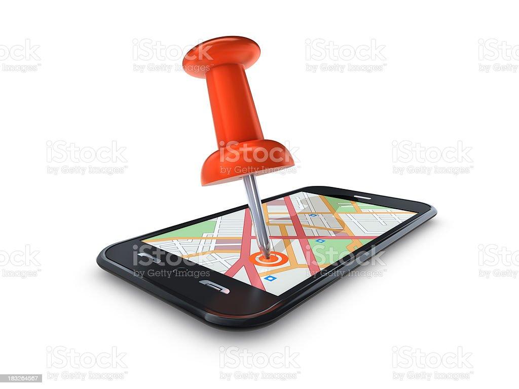 Mapa Pin em Mobile celular foto royalty-free