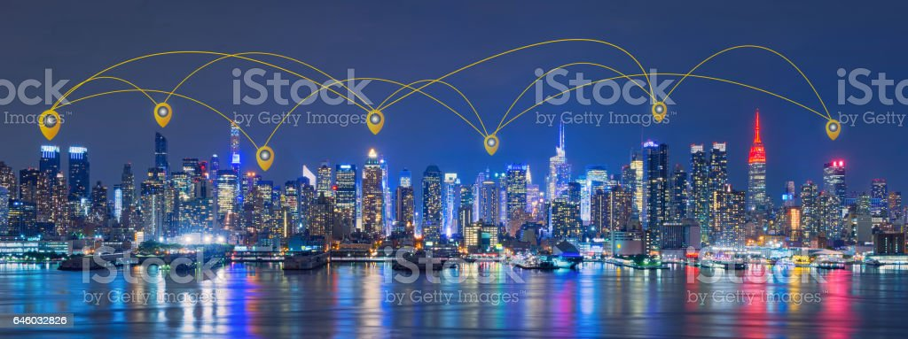 Map pin Network and Connection Technology Concept of Skyline of New York City,Skyscrapers, downtown, USA stock photo