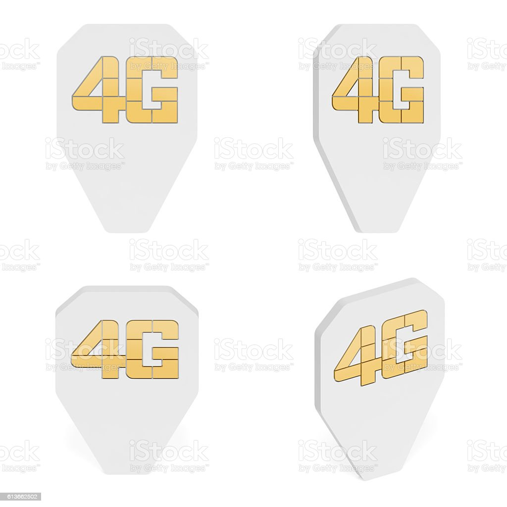 Map pointer as 4g LTE simcard with microchip (set markers) stock photo