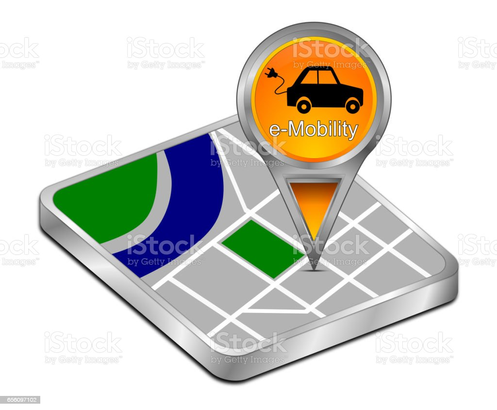 Map pointer with e-Mobility – 3d illustration stock photo