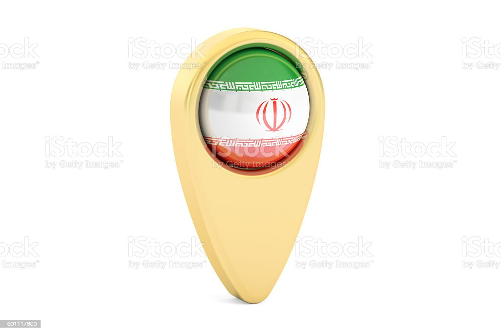 map pointer with flag of Iran, 3D rendering stock photo