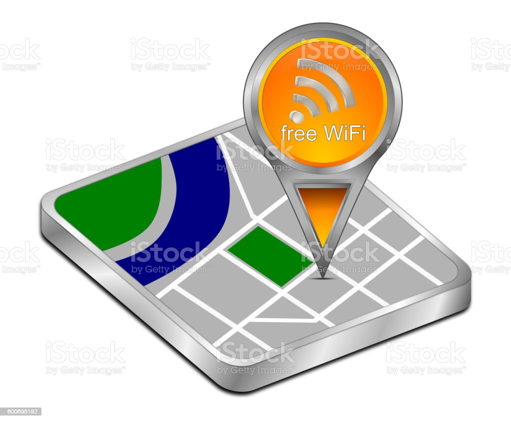 map pointer with free WiFi Symbol - 3D illustration stock photo