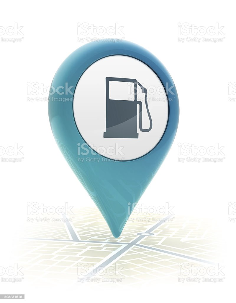 Map pointer with gas station icon stock photo