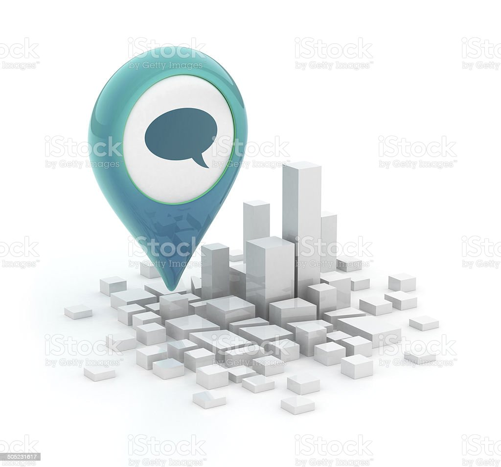 Map pointer with speech bubble icon - 3d city stock photo