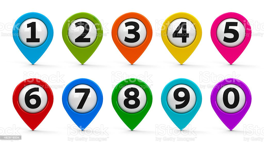 Map pointers with numbers set stock photo