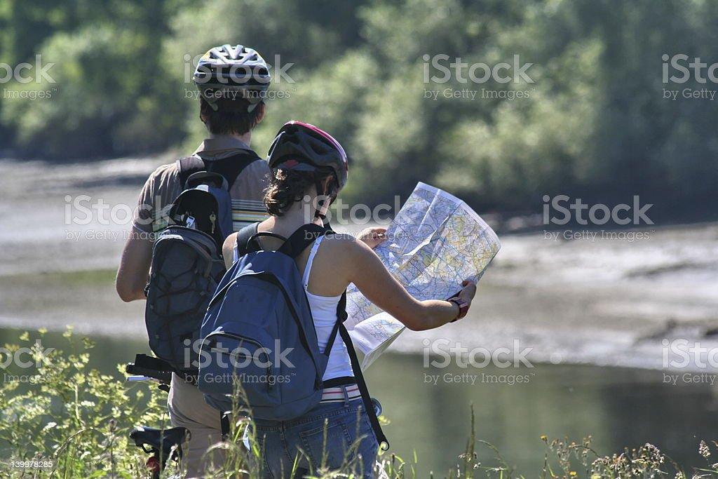 Map reading couple royalty-free stock photo