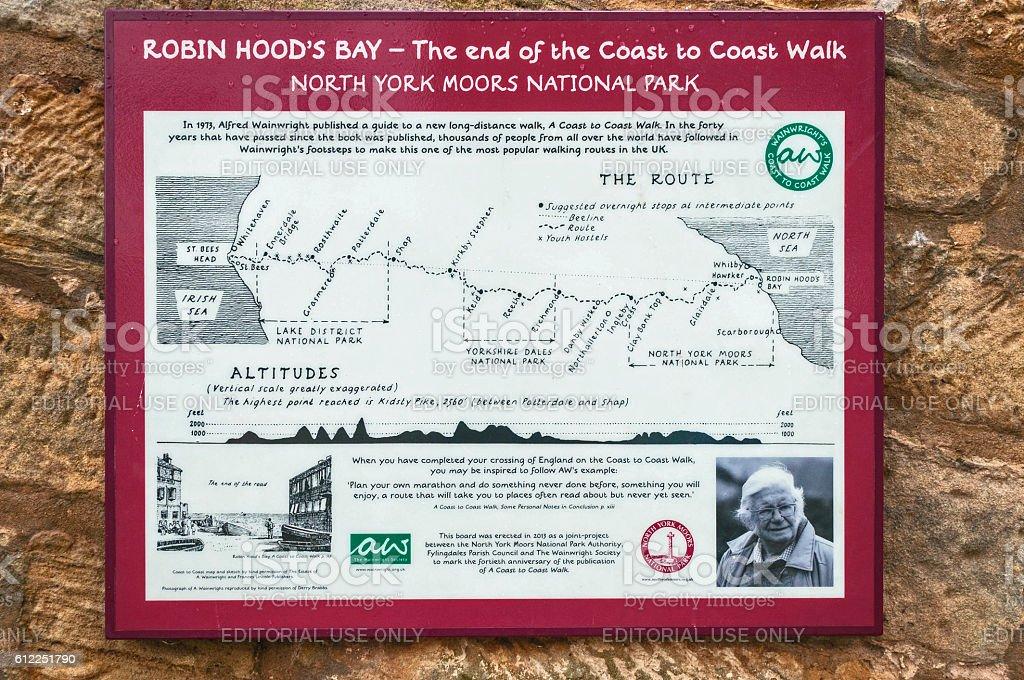Map,  Robin Hood's Bay,  Coast To Coast Walk stock photo