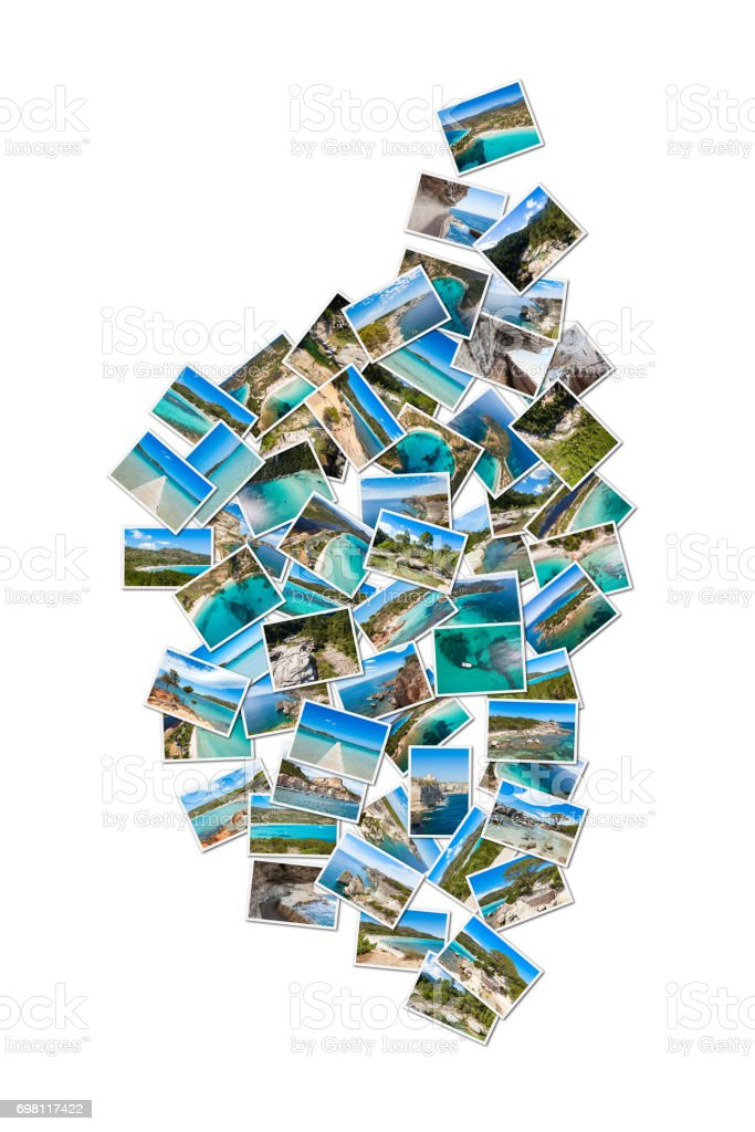 Map shape photo collage of Corsica landscape in France stock photo