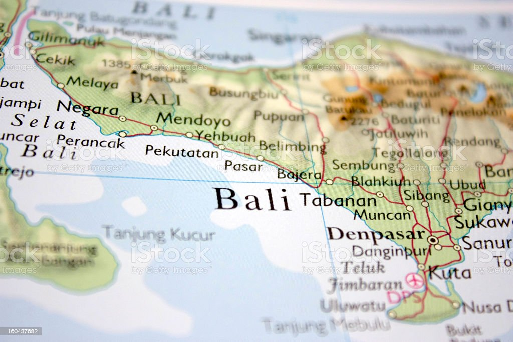 map showing Bali stock photo