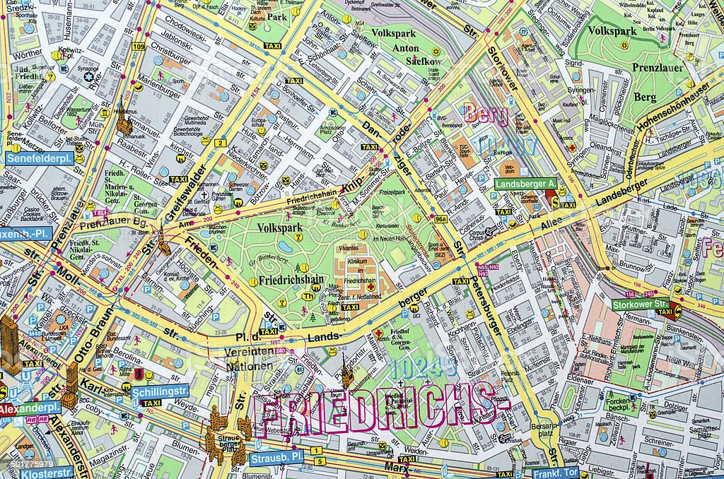 Map showing East and West Berlin stock photo