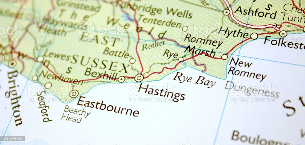 Map showing Hastings in the United Kingdom stock photo