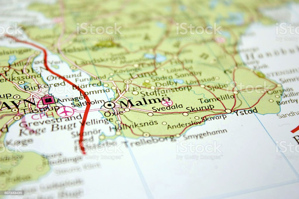map showing Malm? in Sweden stock photo