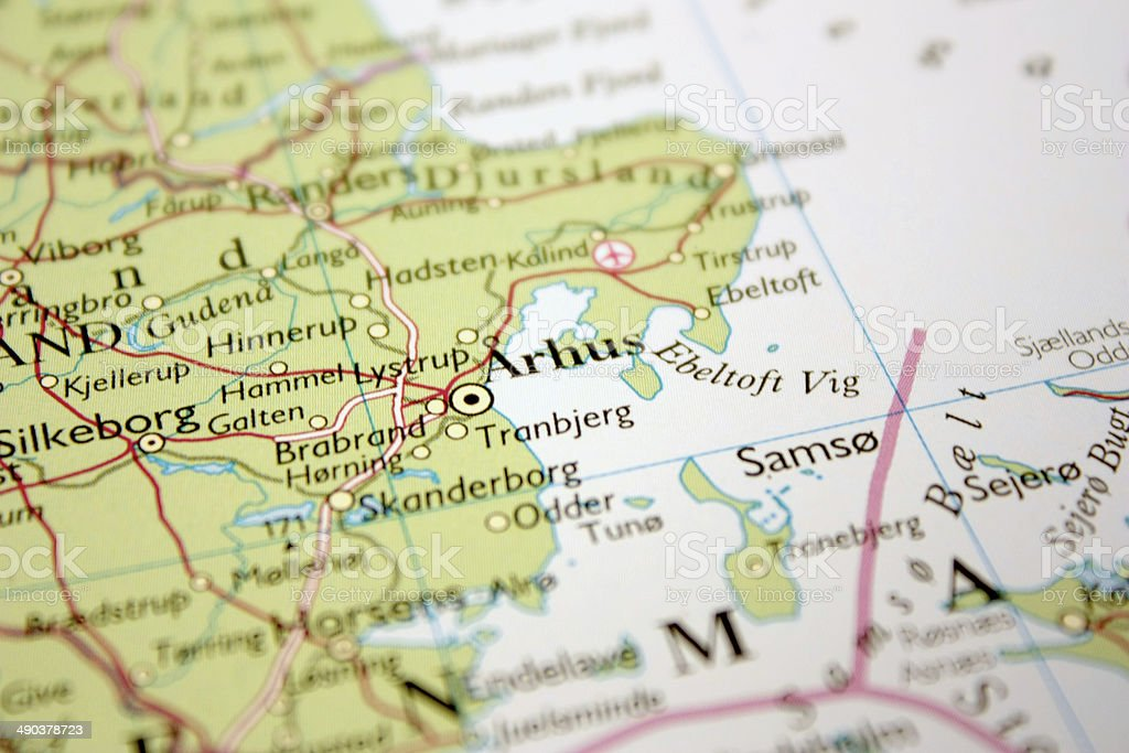 map showing Århus in Denmark royalty-free stock photo