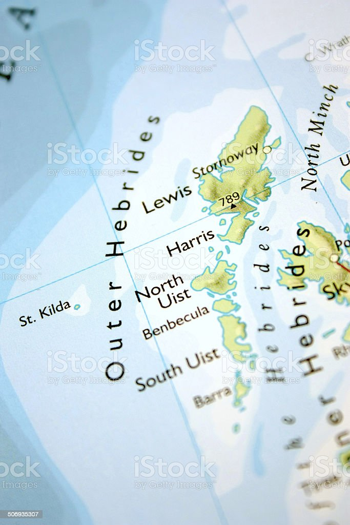 Map showing the Outer Hebrides stock photo