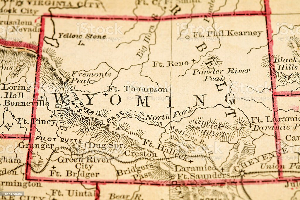 Map showing the state of Wyoming stock photo