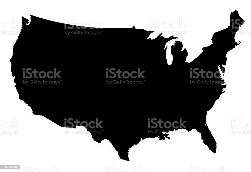 USA Map Silhoette Outline Borders on White Background stock photo