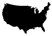 USA Map Silhoette Outline Borders on White Background