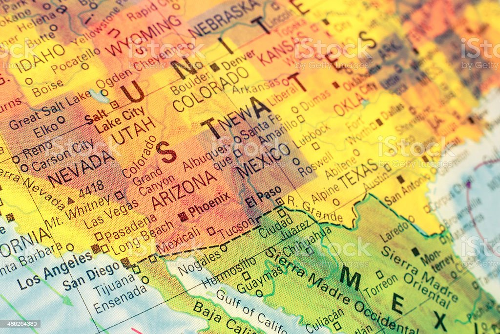 Map South West USA. Close-up image stock photo