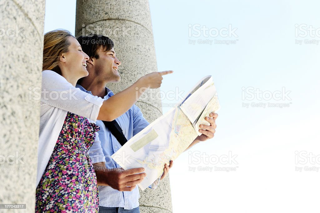 map tourist couple royalty-free stock photo