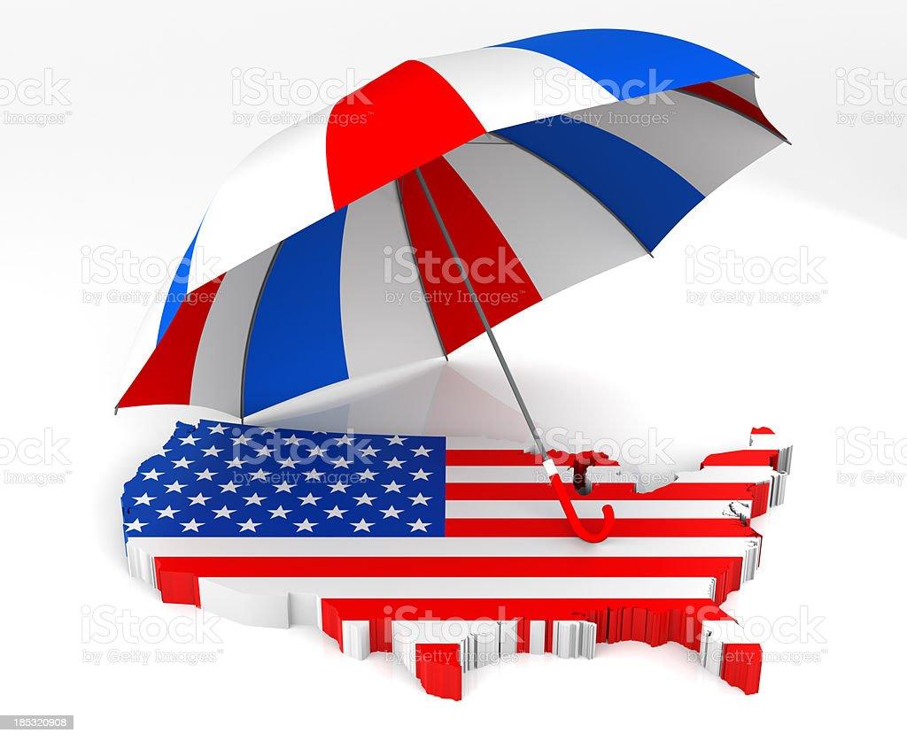 USA Map + Umbrella royalty-free stock photo
