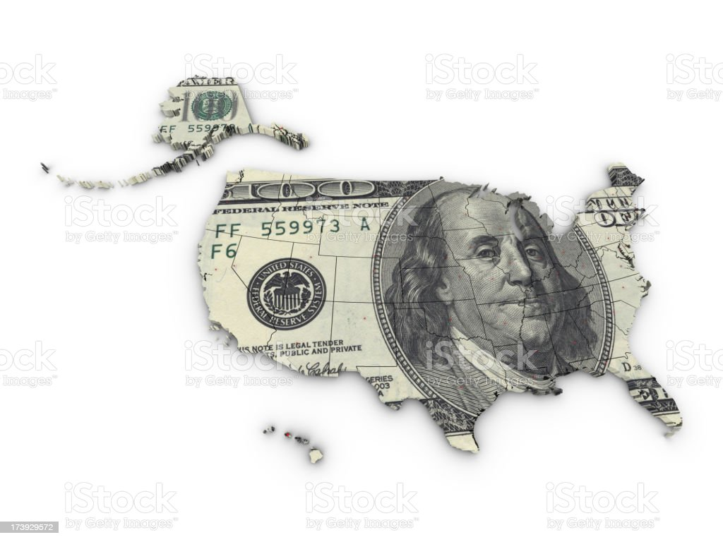 Map USA and Dollar stock photo