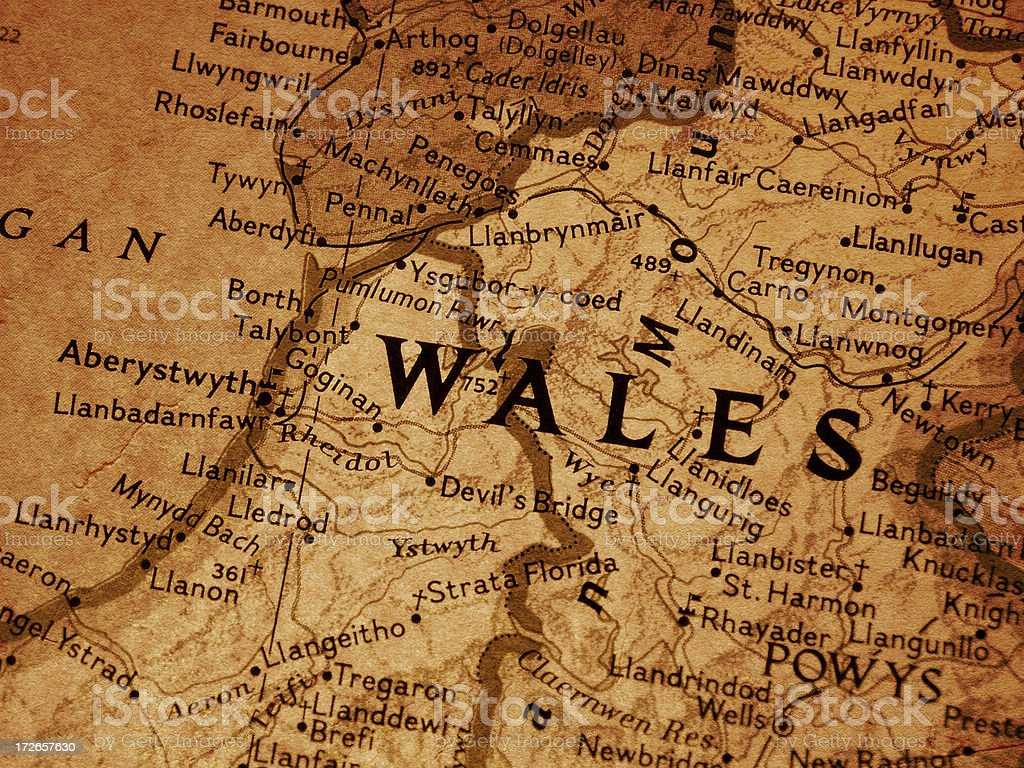 Map - Wales royalty-free stock photo