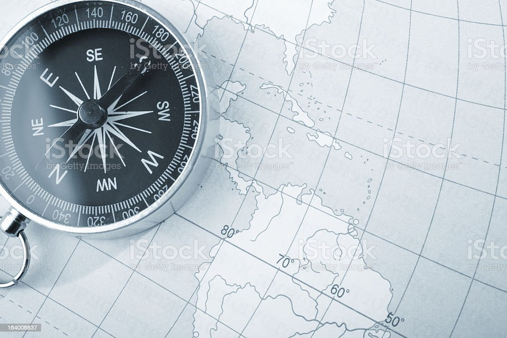 Map with a compass royalty-free stock photo