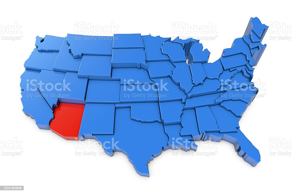 USA map with Arizona state highlighted in red stock photo