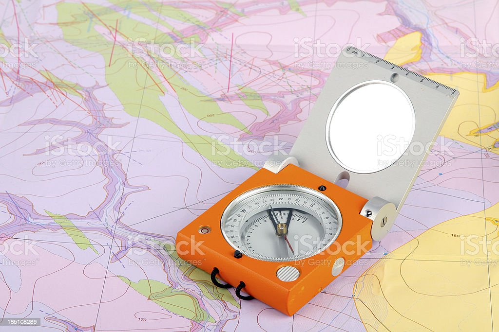 Map with compass stock photo