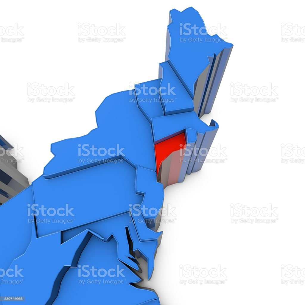 USA map with connecticut state highlighted in red stock photo