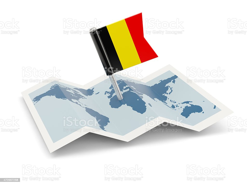 Map with flag of belgium stock photo