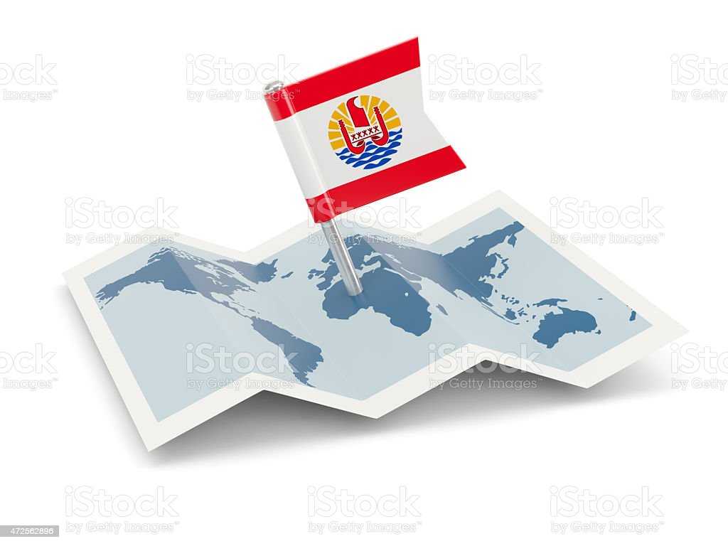 Map with flag of french polynesia stock photo