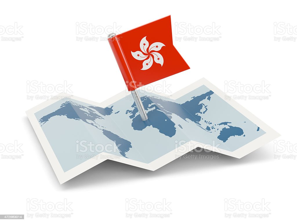 Map with flag of hong kong stock photo
