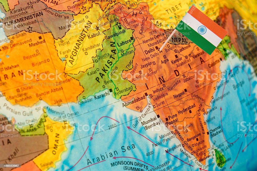 map with flag of India stock photo