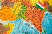 map with flag of India
