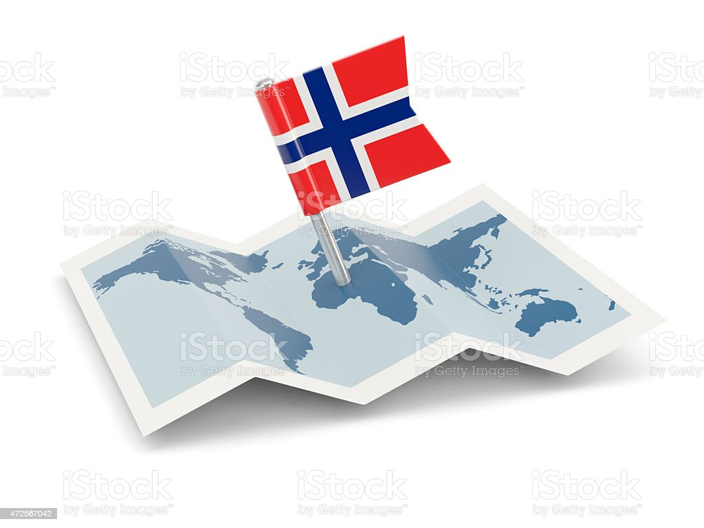Map with flag of norway stock photo