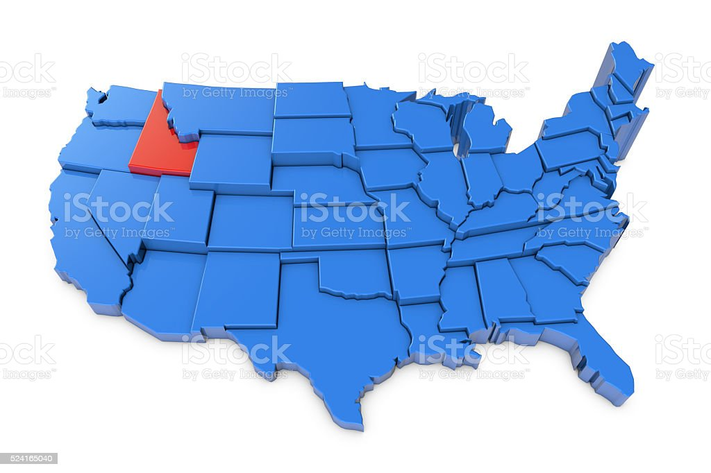 USA map with Idaho state highlighted in red stock photo