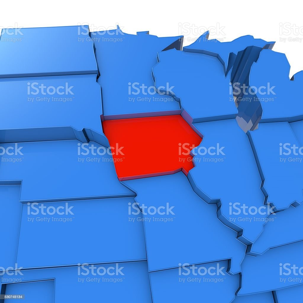 USA map with iowa state highlighted in red stock photo