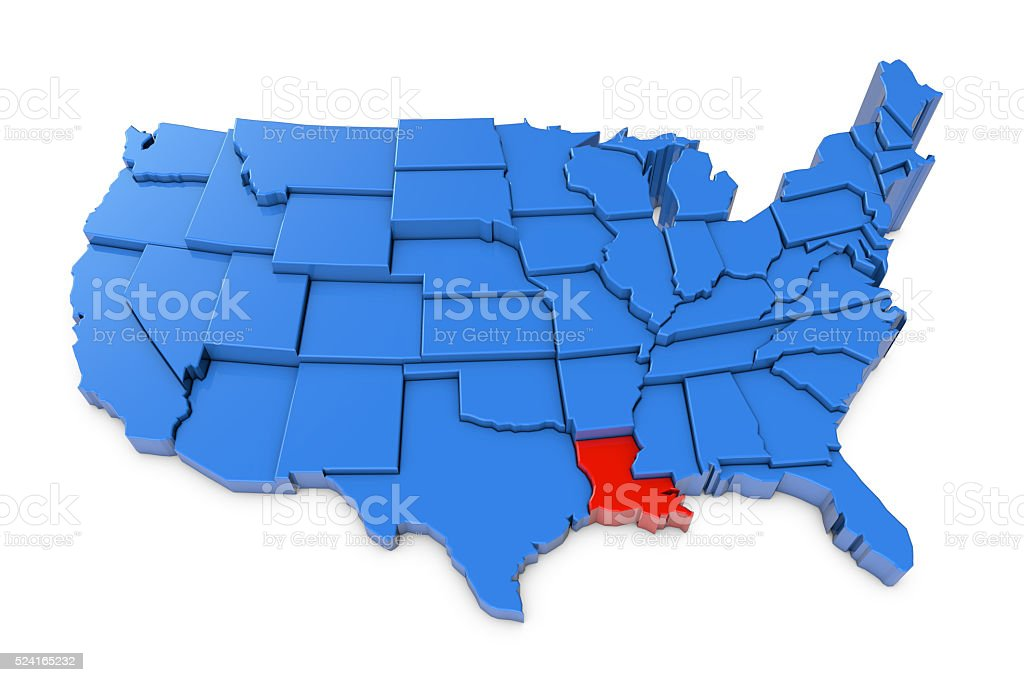 USA map with Louisiana state highlighted in red stock photo